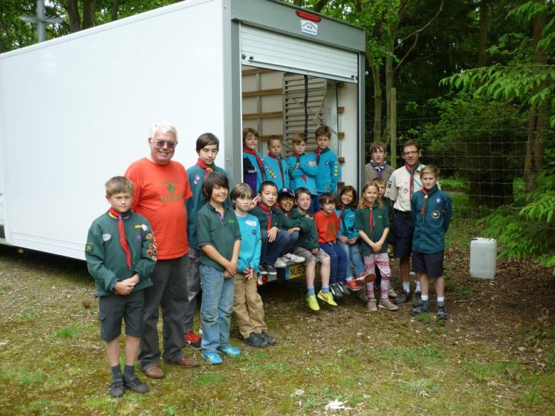 Some of our Scouts, Cubs and Beavers by the van generously provided by Northgate Vehicle Hire